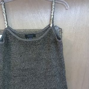 Gold and Black threaded tank top with golf sequin